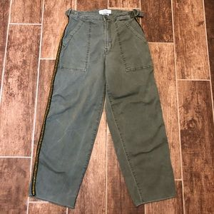 PISTOLA Chino Army Green Cropped Pants 25 Glitter